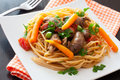 Fried Chicken Hearts , Pasta And Vegetables Stock Image - 57633181