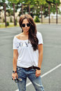 Portrait Of Stylish Young Brunette Woman In Casual Clothes With Stock Image - 57639961