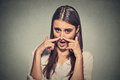 Woman Pinches Nose With Fingers Hands Looks With Disgust Something Stinks Royalty Free Stock Photo - 57640915