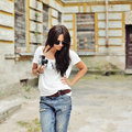 Fashionable Stylish Girl With Old Camera Wearing Sunglasses And Royalty Free Stock Photos - 57640998