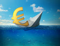 Sinking Euro Currency Symbol With Paper Boat Floating In Ocean Stock Photography - 57641202