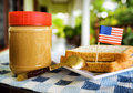 Jar Of Peanut Butter And Toasts Stock Photography - 57646142