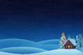 Cabin And Christmas Tree In Rolling Winter Landscape At Night Stock Images - 57649104