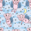 Pig Fly Sweet Dream Seamless Pattern Stock Photo - 57654960