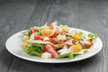 Caesar Salad With Chicken On Oak Table Royalty Free Stock Images - 57665699