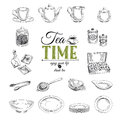 Vector Hand Drawn Illustration With Tea Set Royalty Free Stock Image - 57676296