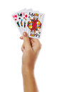 Playing Cards In Hand Isolated On White Background Stock Photo - 57680480