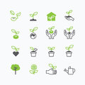 Plant And Sprout Growing Icons Flat Line Design Vector Stock Photography - 57690622
