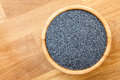 Poppy Seeds In Wood Bowl On Wood Surface, From Above, Space For Royalty Free Stock Photo - 57690645