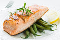 Grilled Salmon With Green Beans Royalty Free Stock Photography - 57692067