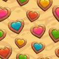 Seamless Pattern With Cute Cartoon Hearts Stock Image - 57702081