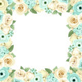 Frame With Blue And White Flowers. Vector Illustration. Stock Photo - 57714120
