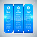 Blue Glossy Ribbon With Three Vertical Options. Royalty Free Stock Photos - 57723368