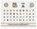 Time Management Hand Drawing Line Icons. Royalty Free Stock Photo - 57731385