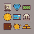 Bank And Money Items Modern Flat Icons Set Royalty Free Stock Images - 57739269