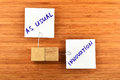 Innovation, Two Paper Notes With Wooden Holders On Wood Royalty Free Stock Images - 57741309