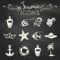 Vector Set Of Chalk Summer Icons. Royalty Free Stock Images - 57742029