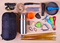Travel Set. Tourist Outfit For Camping Or Hiking. Stock Photo - 57749000