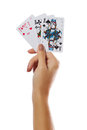Playing Cards In Hand Isolated On White Background Royalty Free Stock Photos - 57754698