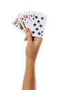 Playing Cards In Hand Isolated On White Background Stock Image - 57754771