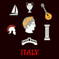 Italian Culture And Travel Icons Royalty Free Stock Photo - 57759655