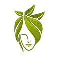Woman Face With Green Leaves Stock Photography - 57760432