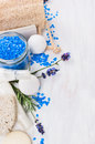 Spa Set With Lavender Sea Salt Royalty Free Stock Photo - 57765405