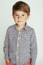 Little Cute Boy On White Background Gesture Stock Image - 57768631