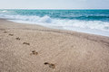 Foot Print On The Sand Of Black Sea. Shoe Prints On The Beach. S Stock Photos - 57775903
