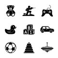 Toys Icons Set With - Car, Duck, Bear, Pyramid Stock Photos - 57777233