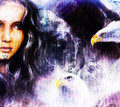 Airbrush Painting Of An Enchanting Woman Face With Two Flying Eagles . Royalty Free Stock Image - 57788156