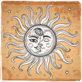 Sun And Moon Vintage Illustration Stock Photos - 57792923