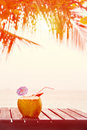 Coconut Water Drink Served In Coconut With Drinking Straw On The Stock Images - 57821314