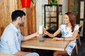 Dating In The Cafe Stock Image - 57828291