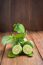 Bergamot With Green Leafs On Wood Background Stock Image - 57836231