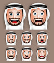 Realistic Saudi Arab Man Head With Different Facial Expressions Royalty Free Stock Photography - 57837537