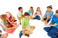 Kids Sit In Circle With One Boy At Center Stock Photography - 57844992