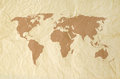 World Map On Vintage Yallow Paper Texture Stock Images - 57847504