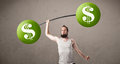 Skinny Guy Lifting Green Dollar Sign Weights Royalty Free Stock Photos - 57850888