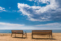 Two Benches At Beach Royalty Free Stock Images - 57870019