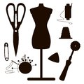 Dark Silhouettes Of Sewing Set Stock Image - 57871321