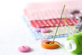 Sewing Needle And Thread With Buttons Stock Images - 57893934
