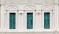 European Style Window With Green Shutters Stock Images - 57894734