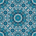 Blue Floral Kaleidoscope Pattern Royalty Free Stock Photography - 57907897