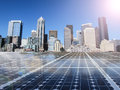 Solar Cell Power Energy Grid In City Background Royalty Free Stock Photo - 57912525