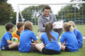 Coach Giving Team Talk To Elementary School Soccer Team Royalty Free Stock Photo - 57916455