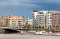 View On Vltava River,bridge And Famous Dancing House Building In Prague Stock Images - 57931374