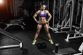 Sexy Athlete Woman Posing With A Dumbbell In The Gym Royalty Free Stock Image - 57936446