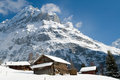 Hotel Near The Grindelwald Ski Area. Swiss Alps At Winter Royalty Free Stock Photo - 57939945