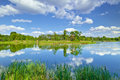 Spring Summer Landscape Blue Sky Clouds River Pond Green Trees Royalty Free Stock Photos - 57952828